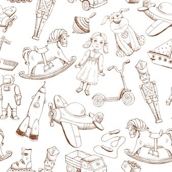 Vintage hand drawn toys seamless pattern with doll airplane whirligig rocket
