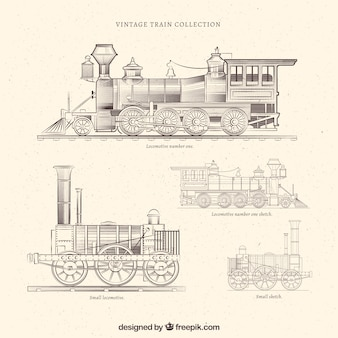 Vintage hand drawn train collection
