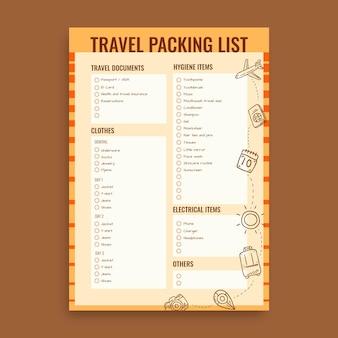 Lista di viaggio vintage disegnata a mano
