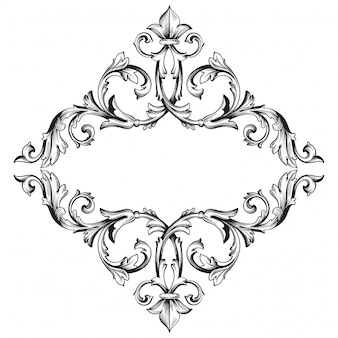 Vintage hand drawn victorian or damask floral element. black and white engraved ink art.
