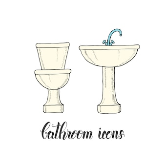 Vintage hand drawn washbasin and toilet bowl in a sketch style.