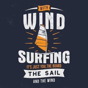 Vintage hand drawn windsurfing illustration