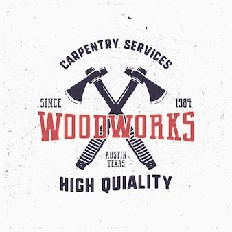 Vintage hand drawn woodworks logo and emblem