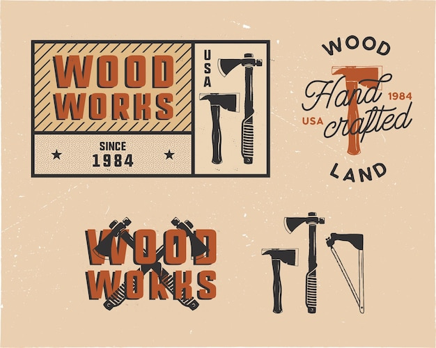Vintage hand drawn woodworks tags logos and emblems set