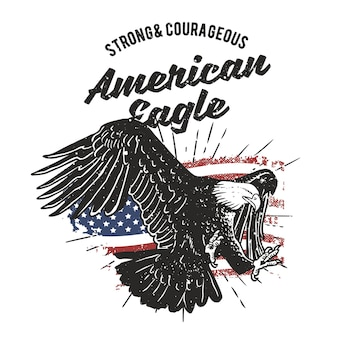 Vintage hand drawnamerican eagle with grunge effect and star burst background