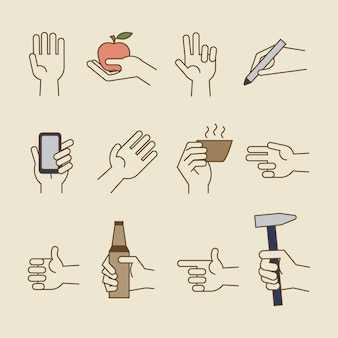 Vintage hand line icons with bottle, cup