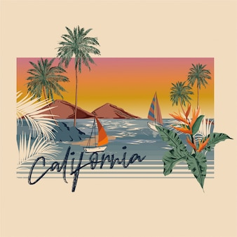 Vintage hand writing california typography with palm trees and island