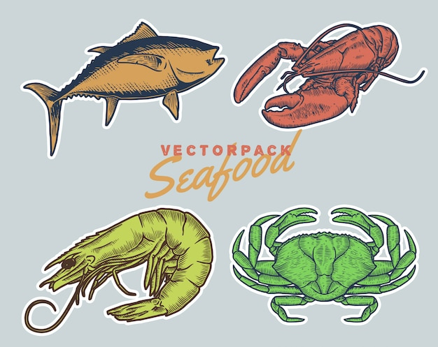 Vintage handdraw style seafood