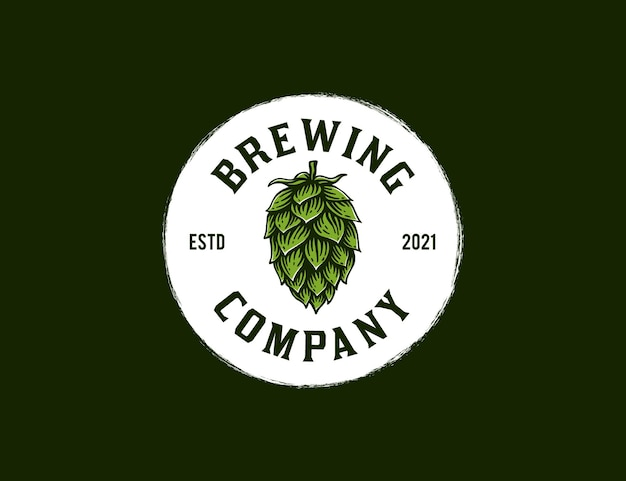 Vintage handdrawn hop flower for brewing company logo