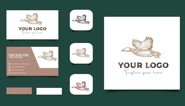 빈티지 손으로 그린 오리 파리와 탈취 카드 템플릿