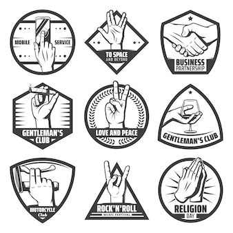 Vintage hands labels set with mobile touch handshake greeting salute rock goat peace praying instrument cigaro wineglass hold gestures isolated