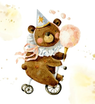 Vintage happy birthday composition with cute bear in birthday cap