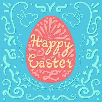Vintage happy easter lettering in egg with rabbits. pasch cookie. vector