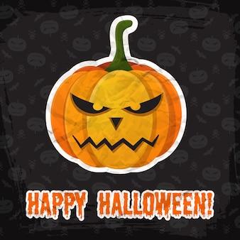 Винтажный шаблон happy halloween с надписью и злым бумажным стикером из тыквы