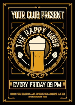 Vintage happy hour poster layout
