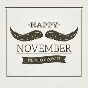 Vintage happy movember with time to grow text