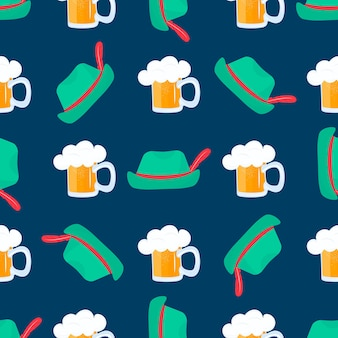 깃털이 달린 빈티지 모자. 거품이 있는 맥주 한 잔. 독일 전통 과자. 옥토버 페스트에 국가 음식. 완벽 한 패턴입니다.