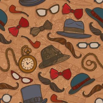 ヴィンテージ帽子と眼鏡の色のシームレスなパターン