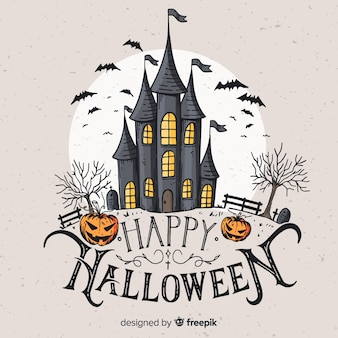 Vintage haunted castle background
