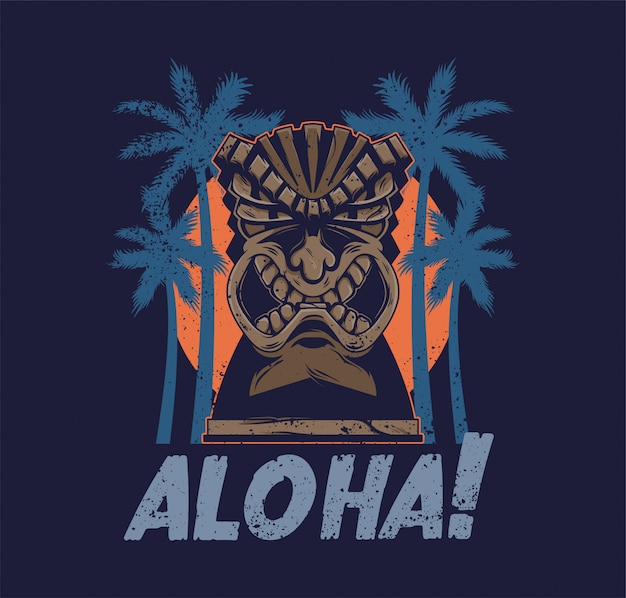 Урожай гавайи племенной злой тики маска идол алоха тотем