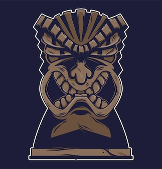 Vintage hawaii tribal angry tiki mask illustration.