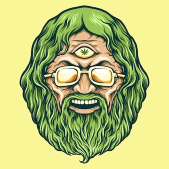 Vintage head cannabis man kush vector illustrations for your work logo, mascot merchandise t-shirt, stickers and label designs, poster, greeting cards advertising business company or brands.