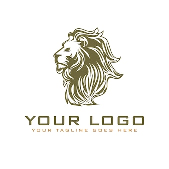 Vintage head lion logo