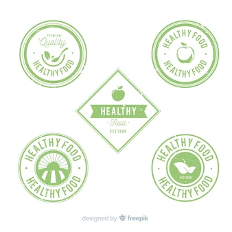 Vintage healthy food logo set
