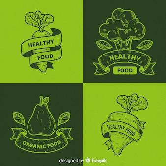 빈티지 건강 식품 로고 세트