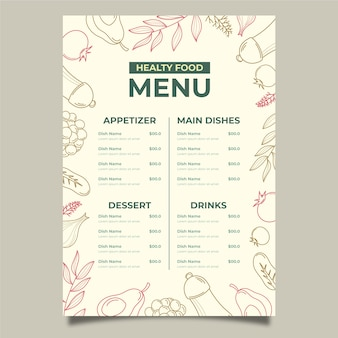 Vintage healthy food menu template design