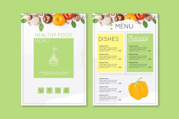 Vintage healthy food menu template