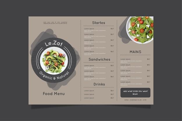 Vintage healthy food menu template