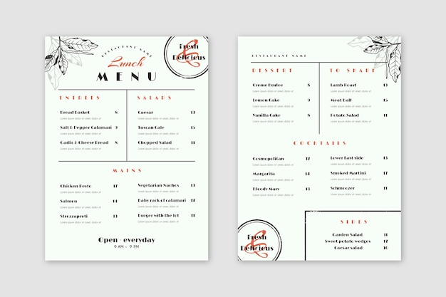 Vintage healthy food restaurant menu style
