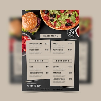 Vintage healthy food restaurant menu template