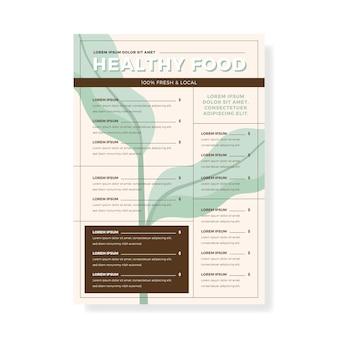 Шаблон меню ресторана винтаж здоровое питание