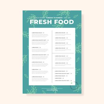 Vintage healthy food restaurant menu template