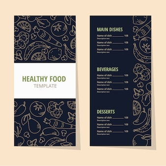 Vintage healthy food restaurant menu