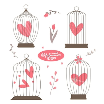 Vintage heart in the bird cages set isolated