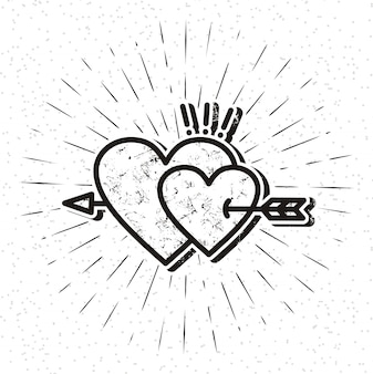 Vintage heart icon with sunburst