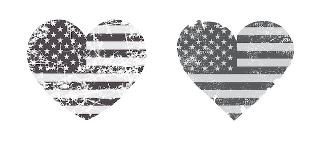 アメリカの国旗とヴィンテージのハートの形