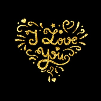 Vintage heart with gold lettering from sparkles