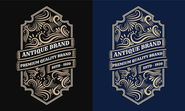 Vintage heraldic hand drawn logo frame for label and packaging design