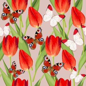 Винтаж высокий подробный тюльпан и красочные бабочки бесшовный фон