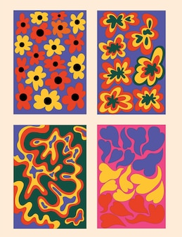 Vintage hippie posters collection
