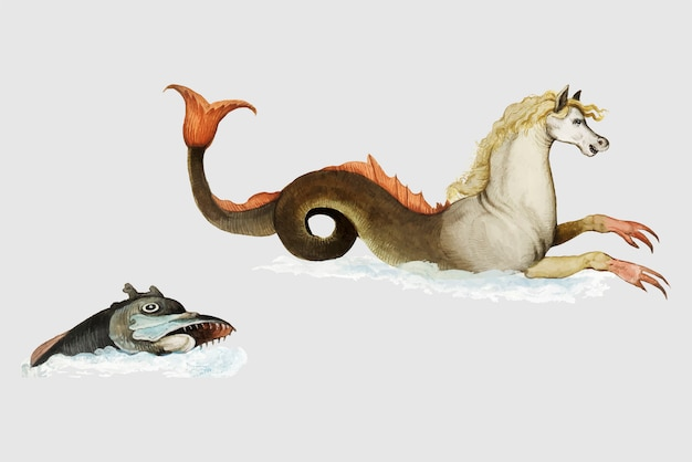 Vintage hippocampus and fish illustration vector