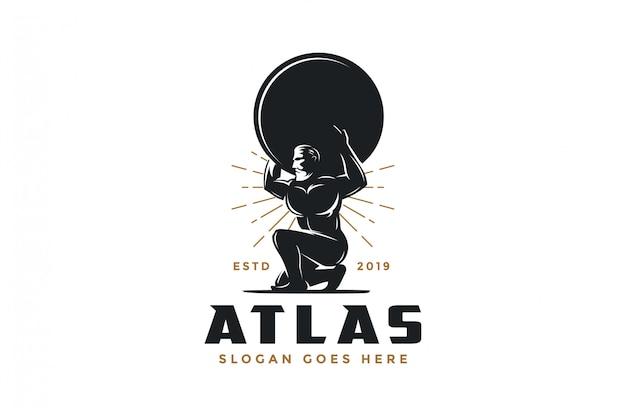 Vintage hipster atlas god logo icon