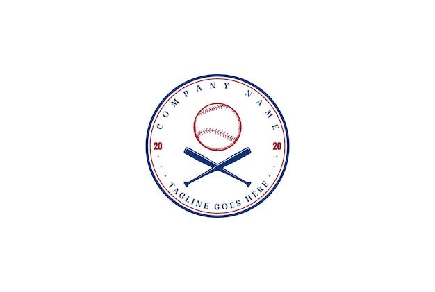Vintage hipster crossed bat baseball sport club team logo design vector
