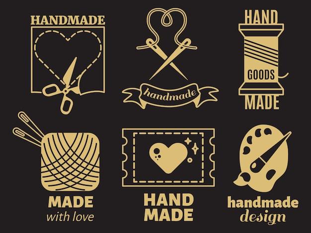 Vintage hipster handiwork, handmade,  badges, labels, logos on black backdrop