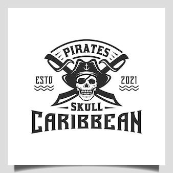 Vintage hipster pirates skull with crossing swords and boat ship sailor emblem logo design