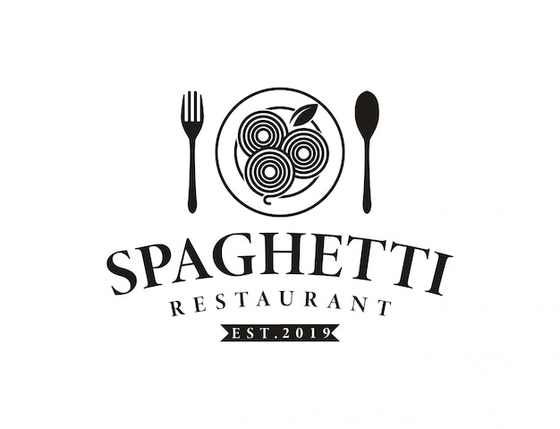 ビンテージヒップスターレトロスパゲッティパスタ麺ロゴ
